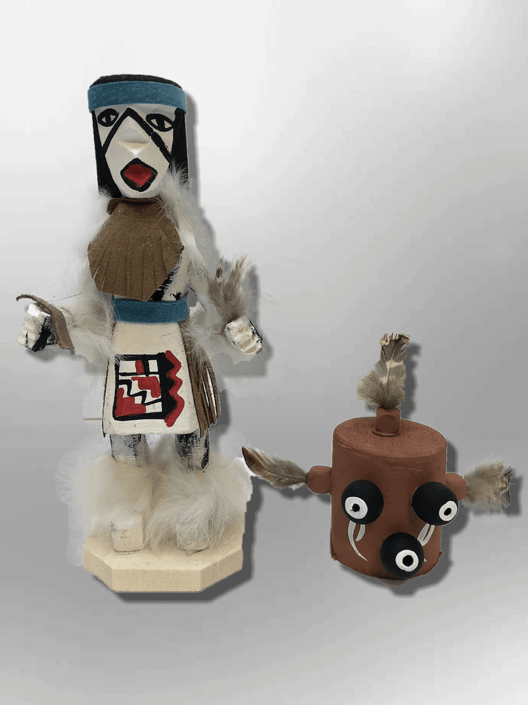 Navajo Handmade Painted Aspen Wood Six Inch Mudhead with Mask Kachina Doll - Kachina City