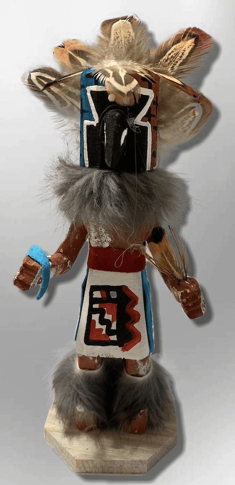 Handmade Painted Aspen Wood Six 6'' Inch Old Man Kachina Doll - Kachina City