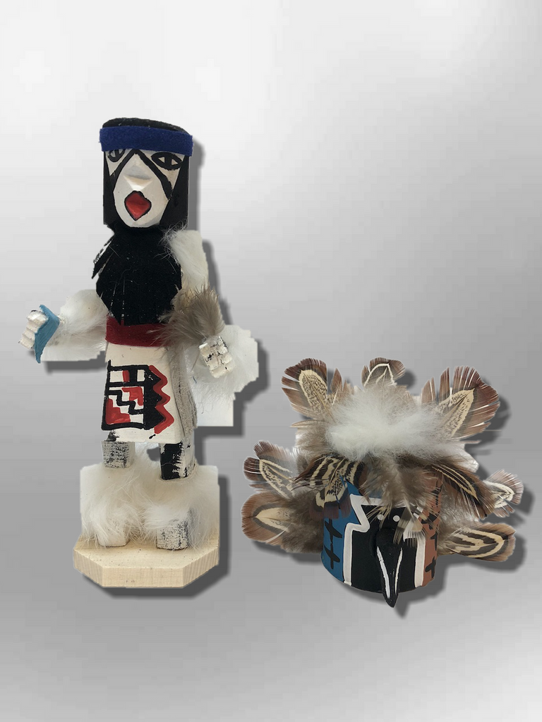 Navajo Handmade Painted Aspen Wood Six Inch Old Man with Mask Kachina Doll - Kachina City