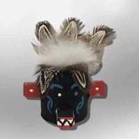 Navajo Handmade Painted Aspen Wood Six Inch Priest Killer with Mask Kachina Doll - Kachina City