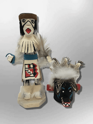 Navajo Handmade Painted Aspen Wood Six Inch Priest Killer with Mask Kachina Doll