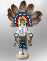 Navajo Handmade Painted Aspen Wood 3'' Inch Rainbow Kachina Doll - Kachina City