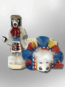 Navajo Handmade Painted Aspen Wood Six Inch Rainbow with Mask Kachina Doll - Kachina City