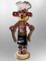 Navajo Handmade Painted Aspen Wood 3'' Inch Red Tail Hawk Kachina Doll - Kachina City
