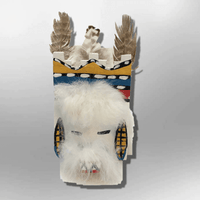Navajo Handmade Painted Aspen Wood Six Inch Santo Domingo with Mask Kachina Doll - Kachina City