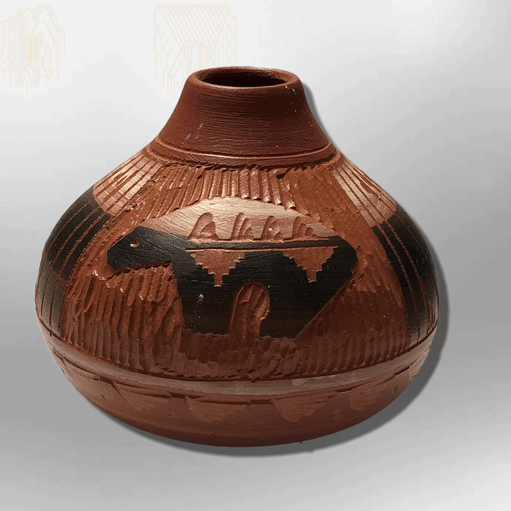 Handmade Indian Native Navajo Clay Etched Small Brown Bear Design Narrow Hole Oval Shape Pottery - Kachina City