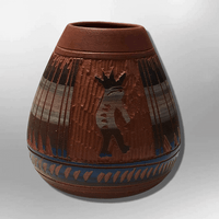 Handmade Indian Native Navajo Clay Etched Small Brown Kokopelli Design Oval Shape Pottery - Kachina City