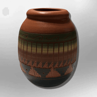 Handmade Indian Native Navajo Clay Etched Small Brown Long Oval Design Pottery - Kachina City