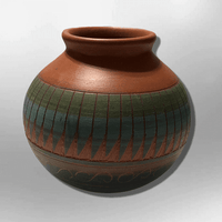 Handmade Indian Native Navajo Clay Small Etched Brown Round Ball Design Pottery - Kachina City