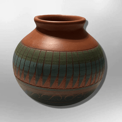 Handmade Indian Native Navajo Clay Small Etched Brown Round Ball Design Pottery