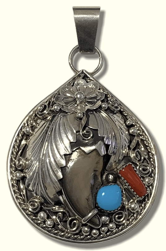 f157c107c Navajo Sterling Silver Handmade Real Bear Claw Coral Turquoise Teardrop  Pendant - Kachina City