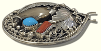 Navajo Sterling Silver Handmade Real Bear Claw Coral Turquoise Teardrop Pendant - Kachina City