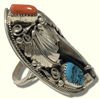 Sterling Silver Navajo Handmade Large Genuine Bear Claw Turquoise Coral Size 11.5 Old Ring - Kachina City