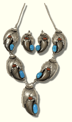 Navajo Sterling Silver Genuine Bear Claw Turquoise Coral Necklace Set