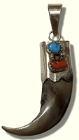 Sterling Silver Navajo Genuine Real Bear Claw Turquoise Coral Pendant - Kachina City