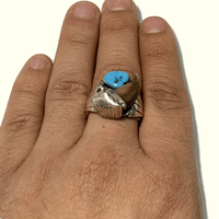 Sterling Silver Navajo Handmade Genuine Bear Claw Turquoise Coral Size 10.5 Old Ring - Kachina City