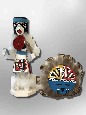 Navajo Handmade Painted Aspen Wood Six Inch Sun Face with Mask Kachina Doll