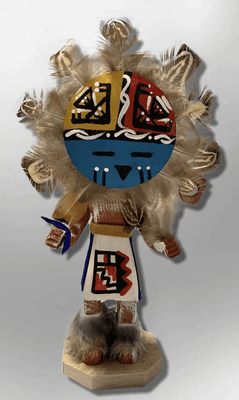 Handmade Painted Aspen Wood Six 6'' Inch Sun Face Kachina Doll
