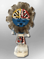 Navajo Handmade Painted Aspen Wood Six Inch Sun Face with Mask Kachina Doll - Kachina City