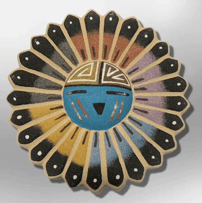 Native Handmade Sand Painting Sun Face Wall Ceramic Hanging Plate