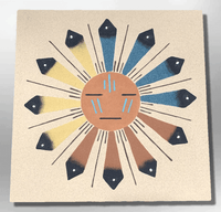 Handmade Sand Painting Navajo 12x12 Inch Sun Face Design Square Wall Hanging Plate - Kachina City