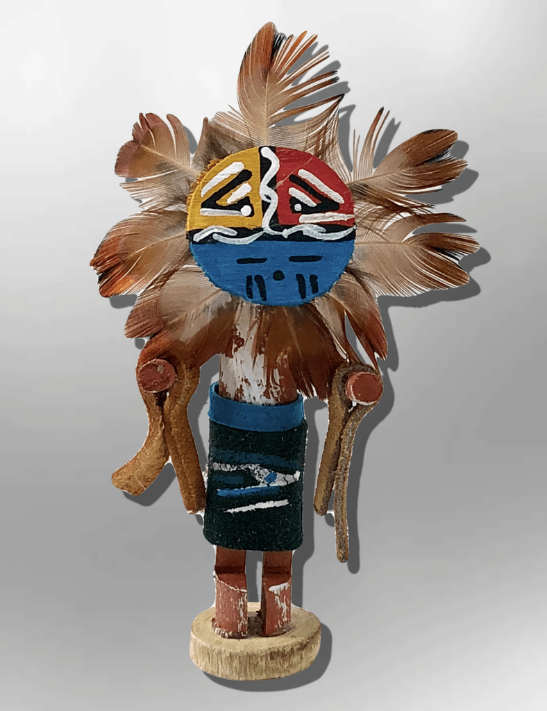 Navajo Handmade Painted Aspen Wood 3'' Inch Sun Face Kachina Doll - Kachina City