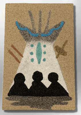 Handmade Native Navajo Rectangle Sand Painting People in Teepee Magnet