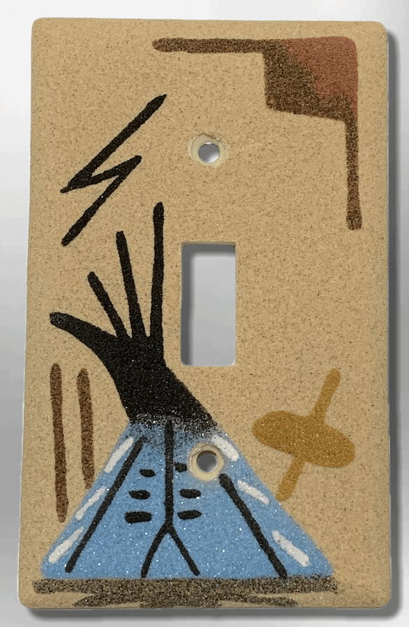 Native Handmade Navajo Sand Painting Blue Teepee 1 Standard Single Toggle Switch Plate Cover - Kachina City