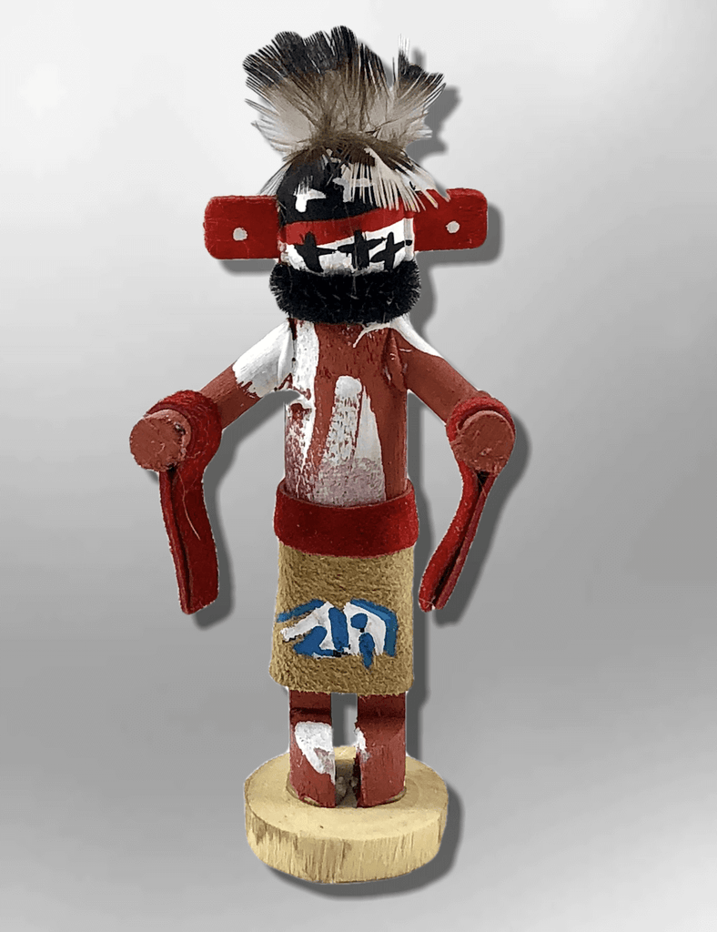 Navajo Handmade Painted Aspen Wood 3'' Inch Warrior Kachina Doll - Kachina City