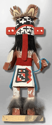 Handmade Painted Aspen Wood Six 6'' Inch Warrior Kachina Doll