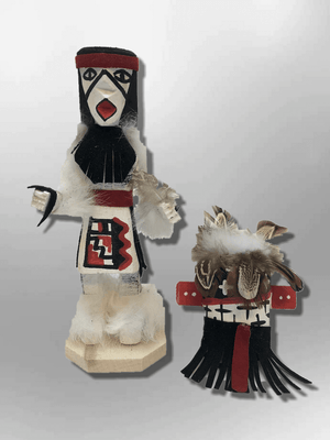 Navajo Handmade Painted Aspen Wood Six Inch Warrior with Mask Kachina Doll