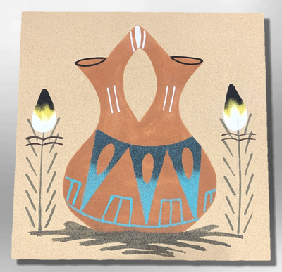 Handmade Sand Painting Navajo 12x12 inch Brown Wedding Vase Design Square Wall Hanging Plate