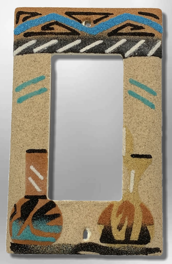 Native Navajo Handmade Sand Painting Wedding Vase and long hole Pot 1 Standard Single Rocker Switch Plate Cover - Kachina City