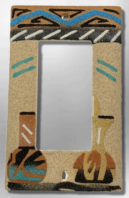 Native Navajo Handmade Sand Painting Wedding Vase and long hole Pot 1 Standard Single Rocker Switch Plate Cover
