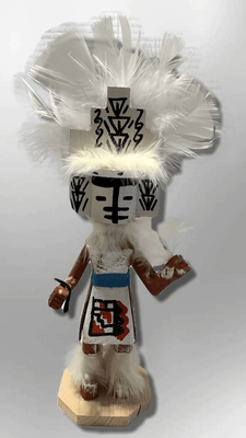 Handmade Painted Aspen Wood Six 6'' Inch White Cloud Kachina Doll
