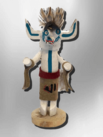 Navajo Handmade Painted Aspen Wood 3'' Inch White Ogre Kachina Doll - Kachina City