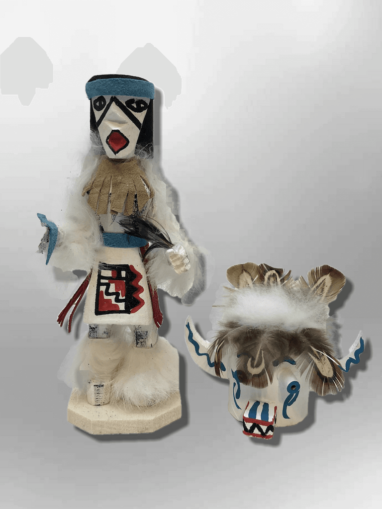 Navajo Handmade Painted Aspen Wood Six Inch White Ogre with Mask Kachina Doll - Kachina City