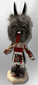 Handmade Painted Aspen Wood Six 6'' Inch Wolf Kachina Doll - Kachina City