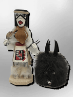 Navajo Handmade Painted Aspen Wood Six Inch Wolf Spirit with Mask Kachina Doll - Kachina City