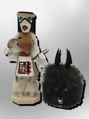 Navajo Handmade Painted Aspen Wood Six Inch Wolf Spirit with Mask Kachina Doll