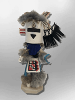 Navajo Handmade Painted Aspen Wood Six Inch Zuni Rain with Mask Kachina Doll - Kachina City