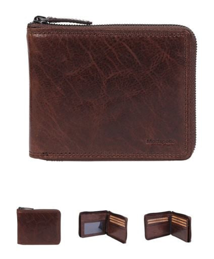 4039 VINTAGE LEATHER ZIP AROUND MENS WALLET