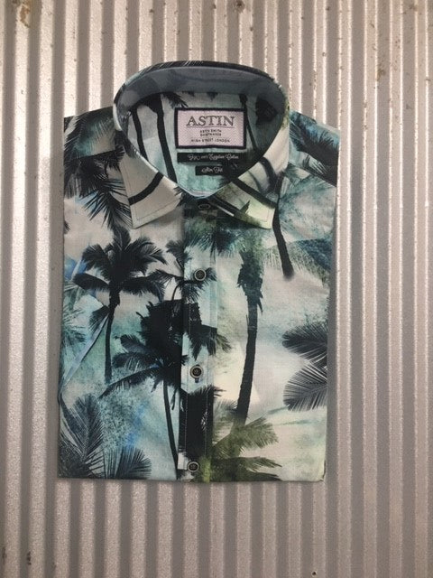 S192AS MENS S/S PALM PRINT