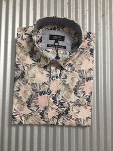 S322 MENS S/S LEAF PRINT SHIRT
