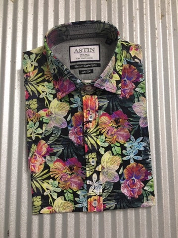 S338AS MENS S/S CANE PRINT SHIRT