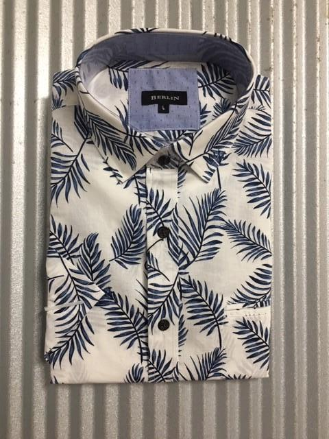 MENS S/S LEAF PRINT SHIRT