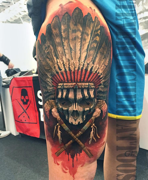 9cc942af2 Common symbols associated with Indian skull tattoos include power, respect,  pride, leadership, loyalty, accomplishment, and heritage.