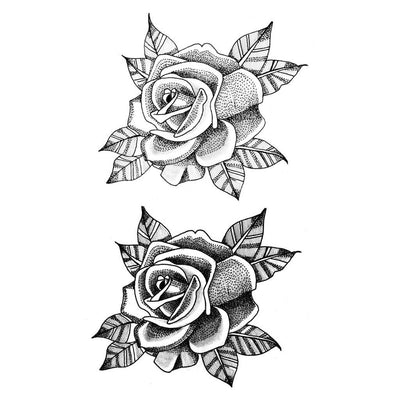 two dotwork roses