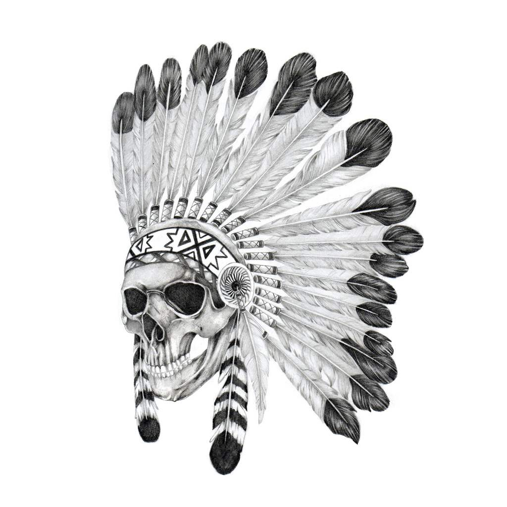 dead indian warchief temporary tattoo