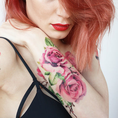 roses watercolor temporary tattoo